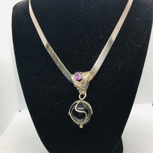 SterlingSilver Pools ofLight/Crystal Ball Necklace